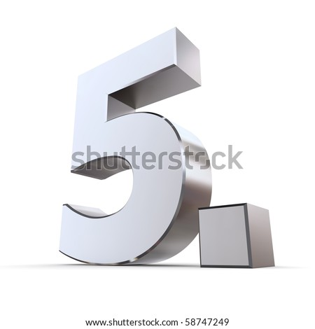 shiny 3d numbe 5th made of silver/chrome - 5. with angular dot - stock photo