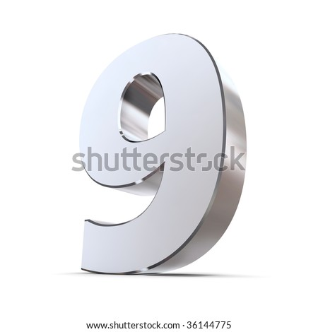 shiny 3d number 9 made of silver/chrome - stock photo