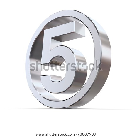 shiny 3d number 5 made of silver/chrome in a metallic circle - stock photo