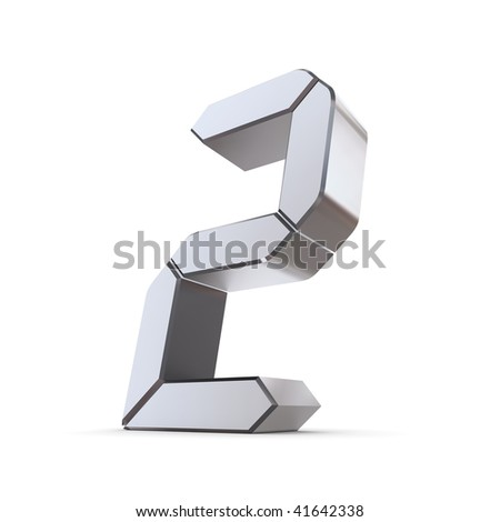 shiny 3d number 2 made of silver/chrome - LCD digit look - stock photo