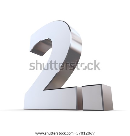 shiny 3d number 2nd made of silver/chrome - 2. with angular dot - stock photo