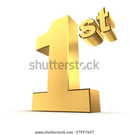 shiny 3d number 1st made of gold