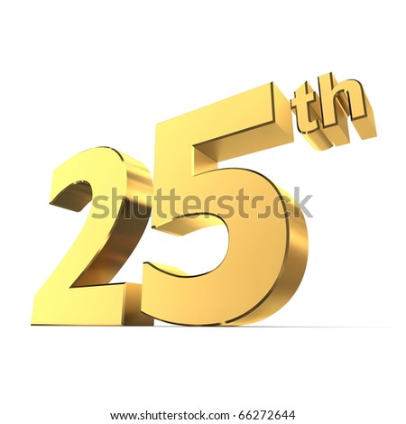 shiny 3d number 25th made of gold - silver wedding anniversary - stock photo