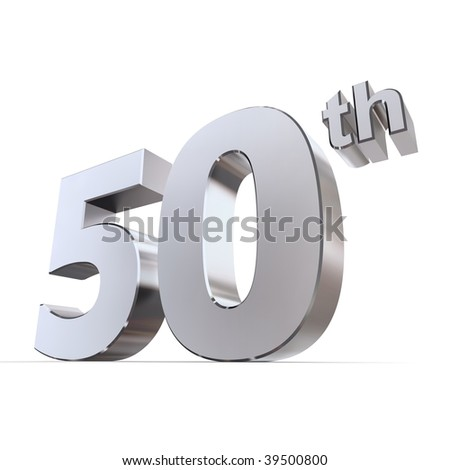 shiny 3d number 50th made of silver/chrome