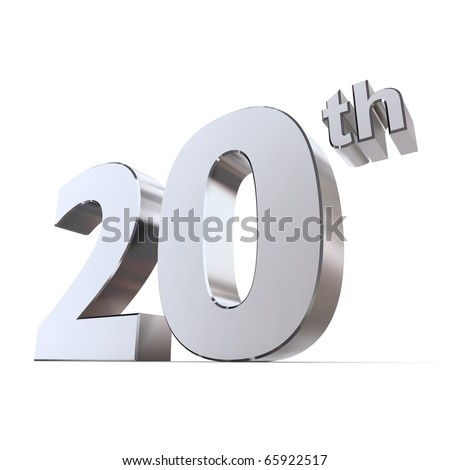 Shiny 3 D Number 20th Made Silverchrome Stock Illustration 65922517