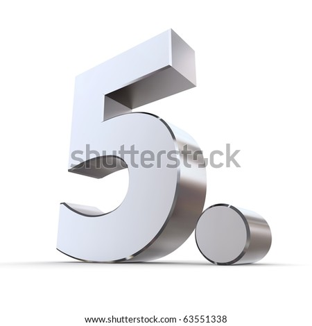 shiny 3d number 5th made of silver/chrome - 5. with a round dot - stock photo