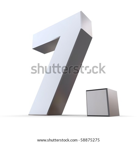 shiny 3d number 7th made of silver/chrome - 7. with angular dot - stock photo