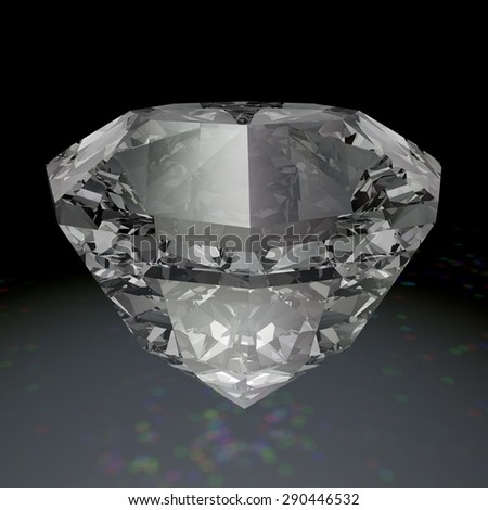 Shiny diamond isolated on black background with prism effect from light coming through diamond - stock photo