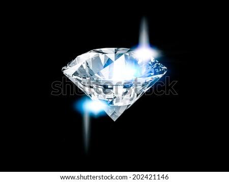 Shiny diamond on black background - stock photo