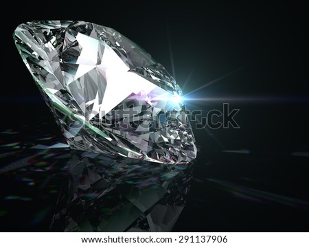 Shiny diamond on black background. - stock photo