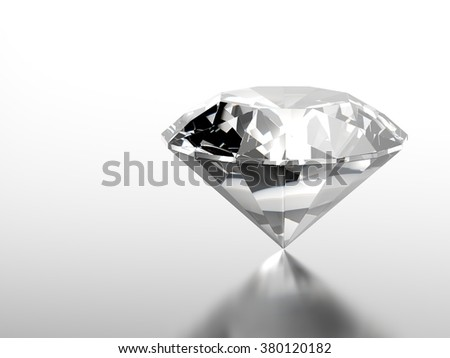 Shiny diamond on reflective surface