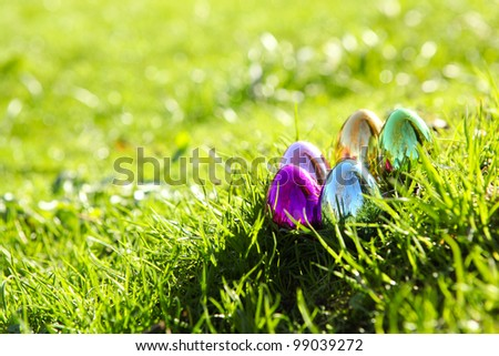 shiny easter-eggs in grass