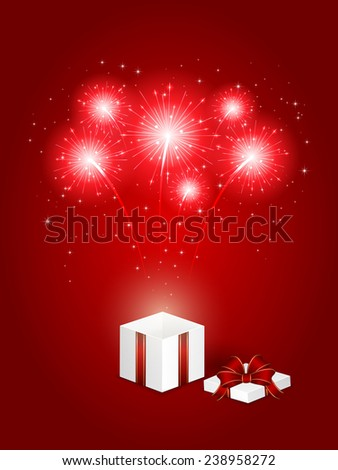 Shiny fireworks and gift box on red background, illustration. - stock photo