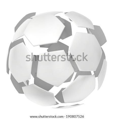 Shiny football. silver ball. Isolated on white background - stock photo