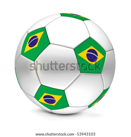 shiny football/soccer ball with the flag of Brazil on the pentagons