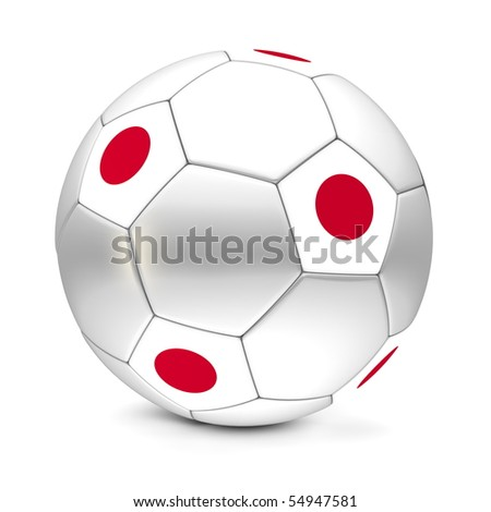 shiny football/soccer ball with the flag of Japan on the pentagons
