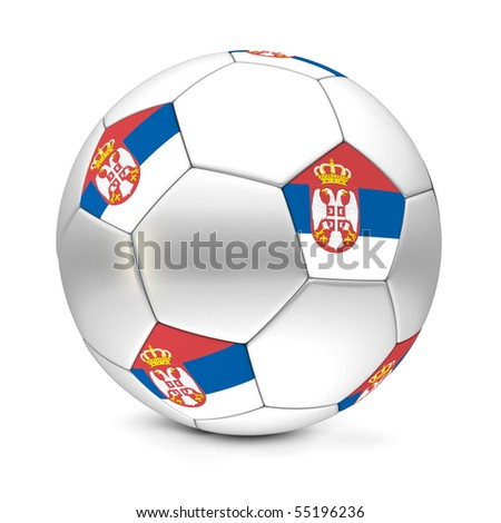 shiny football/soccer ball with the flag of Serbia on the pentagons - stock photo