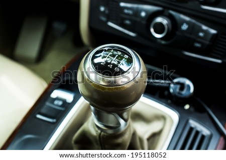 shiny gear shift knob of a used car  - stock photo