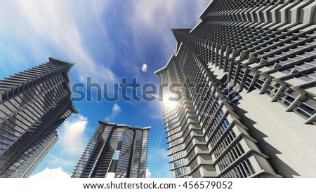 Shiny glass buildings reflect the sun, clouds.3D illustration. - stock photo