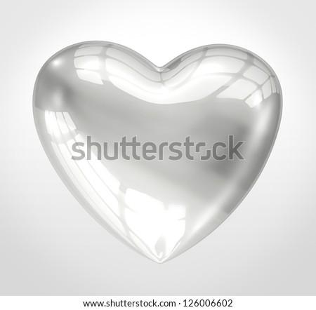 Shiny glass heart - stock photo