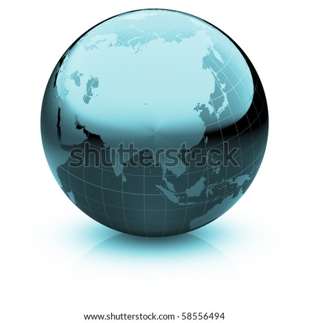 Shiny globe marble with highly detailed continents and geographical grid  facing Asia - stock photo