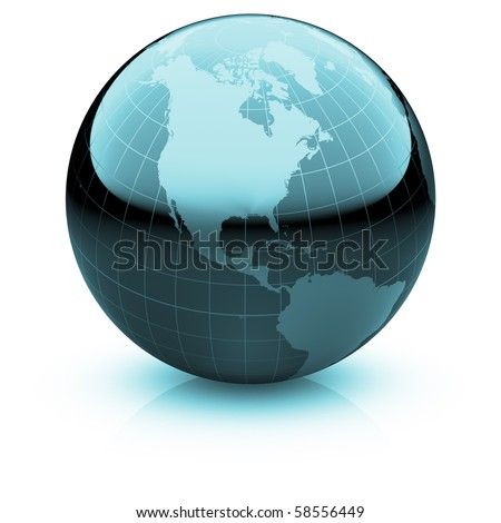 Shiny globe marble with highly detailed continents and geographical grid  facing North America - stock photo