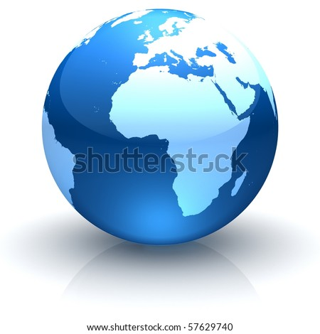 Shiny globe marble with highly detailed continents facing Africa - stock photo