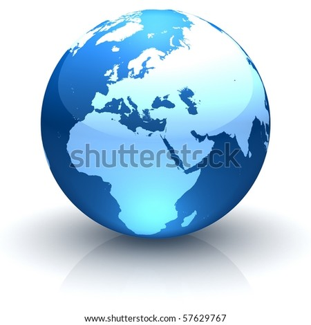 Shiny globe marble with highly detailed continents facing Europe - stock photo