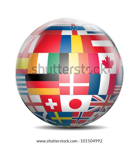 Shiny Globe with Flags of The World - stock photo
