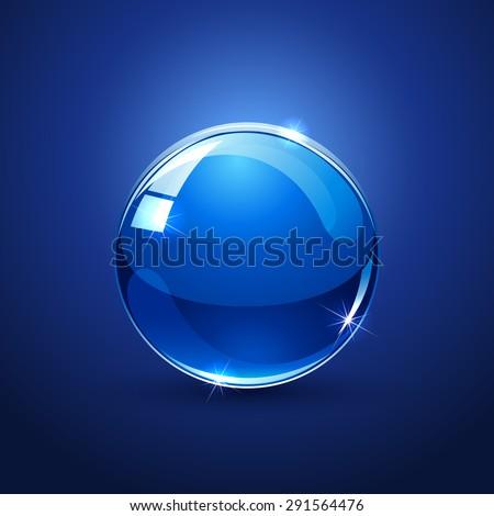 Shiny glossy ball on blue background, illustration. - stock photo