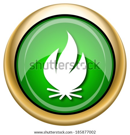 Shiny glossy green and gold icon - internet button - stock photo