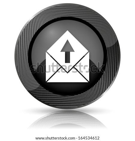Shiny glossy icon with white design on black background - stock photo