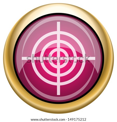 Shiny glossy icon with white design on magenta and gold background - stock photo