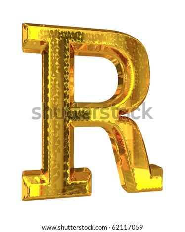 Shiny gold alphabet