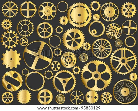 Shiny gold gears, pinions and wheels vector