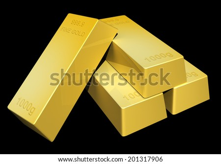 Shiny gold ingot bars rendered in 3D on a dark background - stock photo