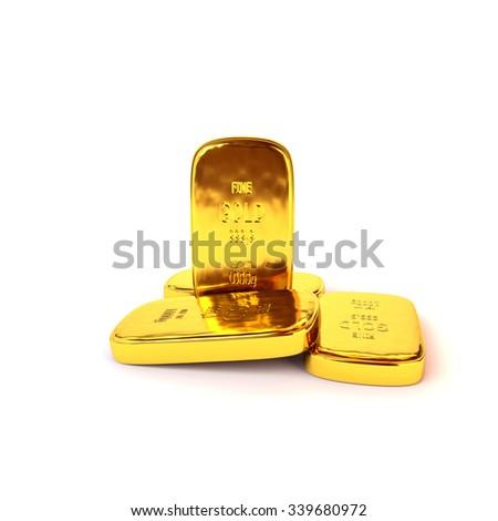 Shiny gold ingots of the highest standard on a white background. 3D illustration, render - stock photo
