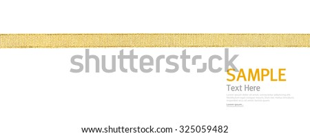 Shiny gold ribbon on white background with copy space. - stock photo