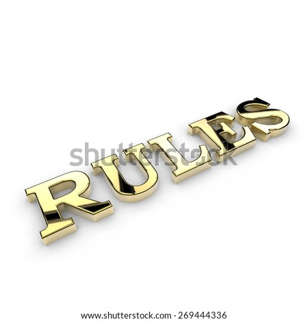 Shiny gold rules on a white background - stock photo