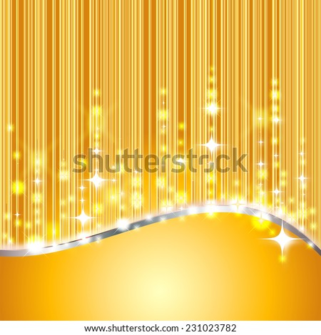 shiny golden background with glitter and stars - stock photo