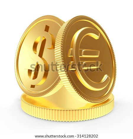 Shiny golden coins with dollar and euro signs on a pedestal isolated on a white background