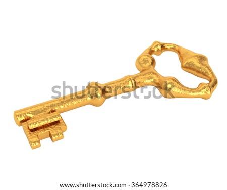 Shiny golden key, isolated on white background. 3d illustration. - stock photo