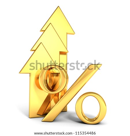 shiny golden percent symbol with grow up arrows - stock photo