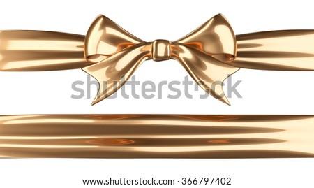 Shiny golden ribbon with bow. 3d illustration isolated on white background - stock photo