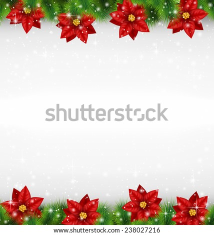 Shiny green pine branches like frame with flower of poinsettia in snowfall on grayscale background - stock photo