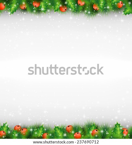 Shiny green pine branches like frame with holly sprigs in snowfall on grayscale background - stock photo