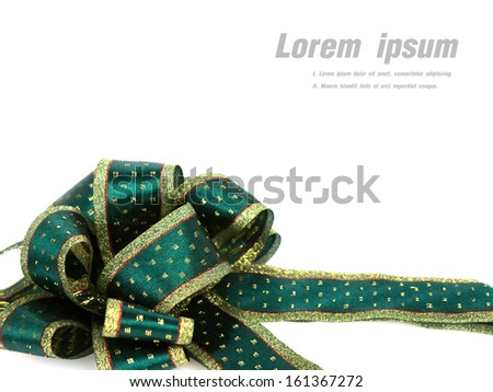 Shiny green ribbon on white background with copy space. - stock photo