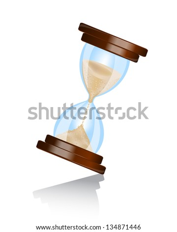 shiny hourglass wooden frame with shadow on white background - stock photo