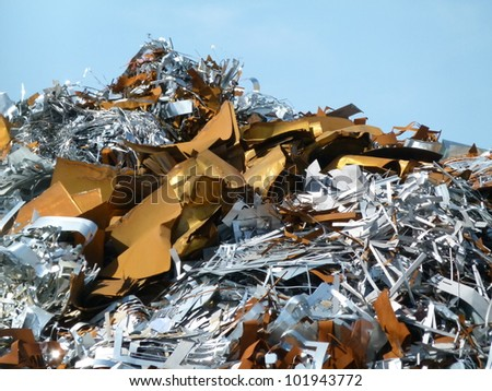 shiny / Junk pile at a metal recycling yard in Richmond CA.