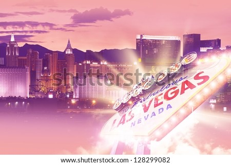 Shiny Las Vegas Background. Ultraviolet Vegas Background Theme with Las Vegas City Entrance Sign. Las Vegas, Nevada, USA. Famous Places Photo Collection. - stock photo